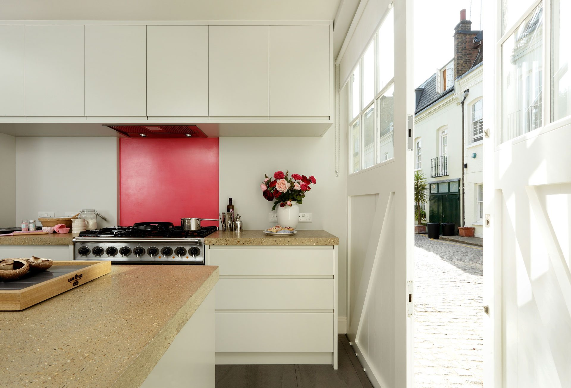 contemporary home kitchen folding doors to outside